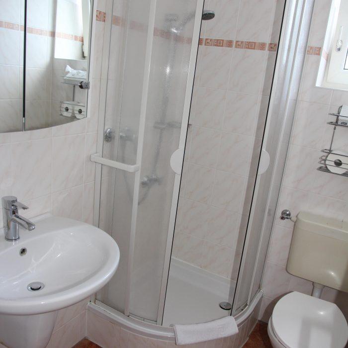 badezimmer mit Dusche und wc pension mariandl in düsseldorf